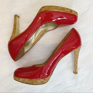 Jessica Simpson Red Patent Pinup Cork Heel Pumps